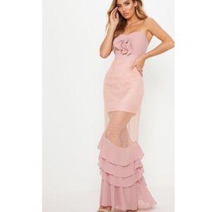 Dusty Pink Lace Ruffle Hem Maxi Strapless Dress